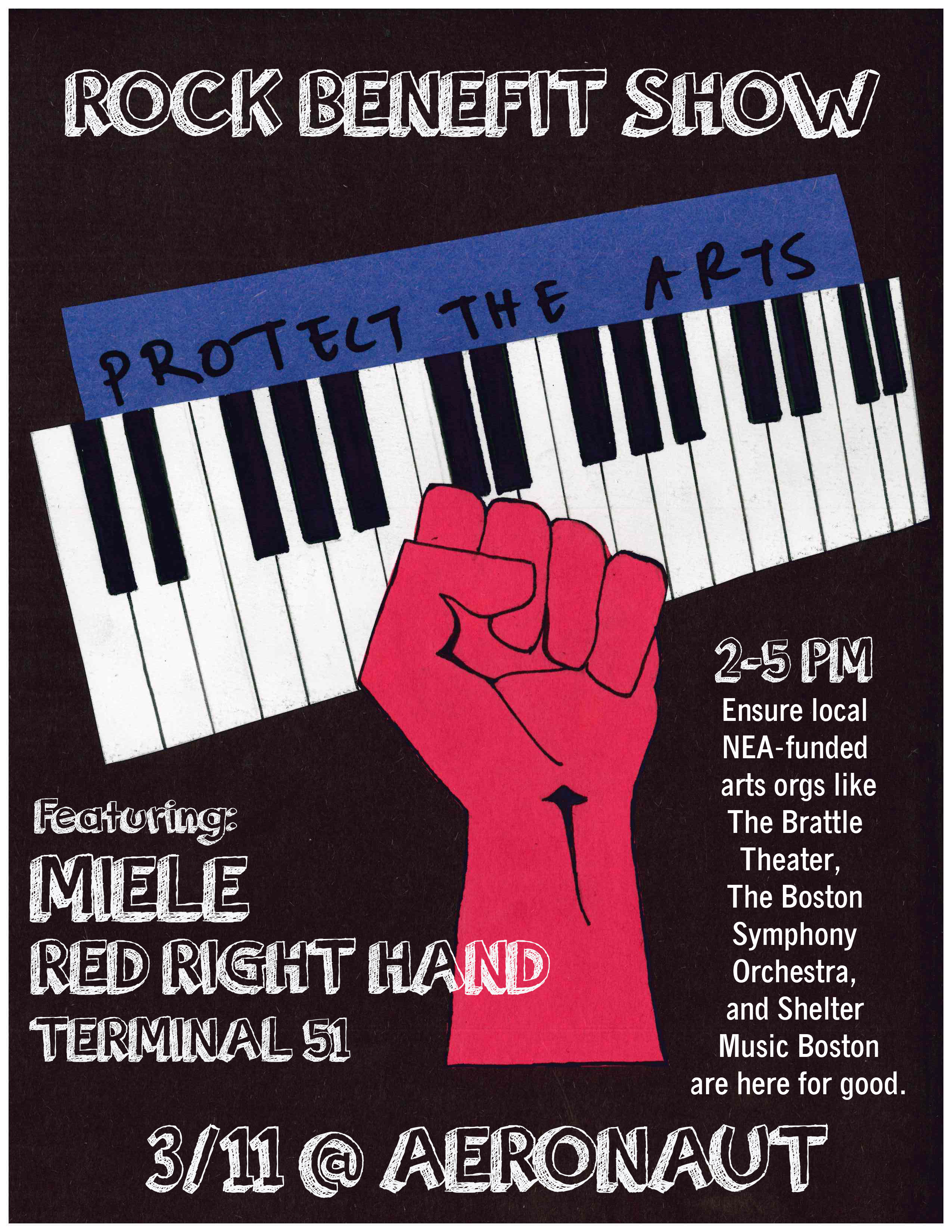 Rock Benefit Show for the Arts- Featuring Miele, Red Right Hand, and Terminal 51 @ AERONAUT