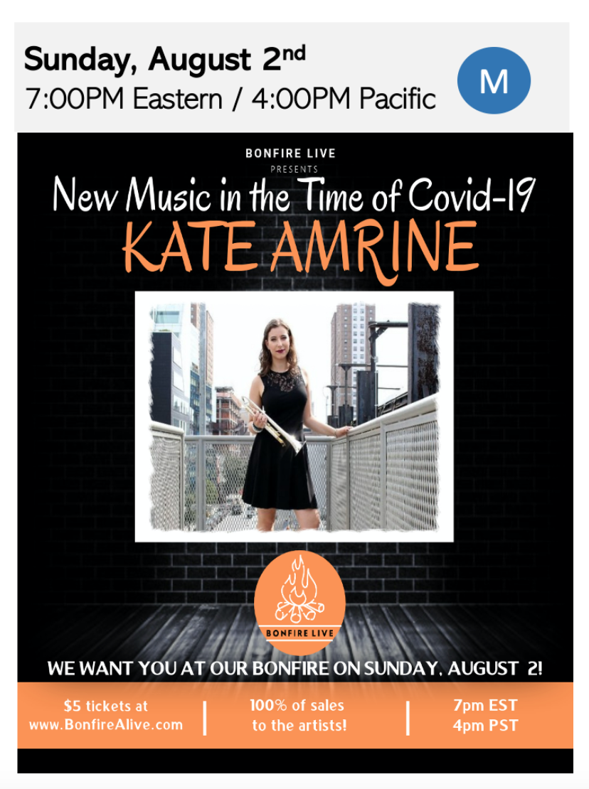 100% of sales goes to the artist! Kate Amrine: New Music in the time of Covid-19 with Bonfire Live