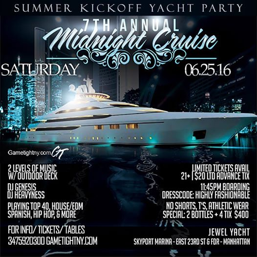 NYC Midnight Yacht Cruise at Skyport Marina Buy Tickets Now