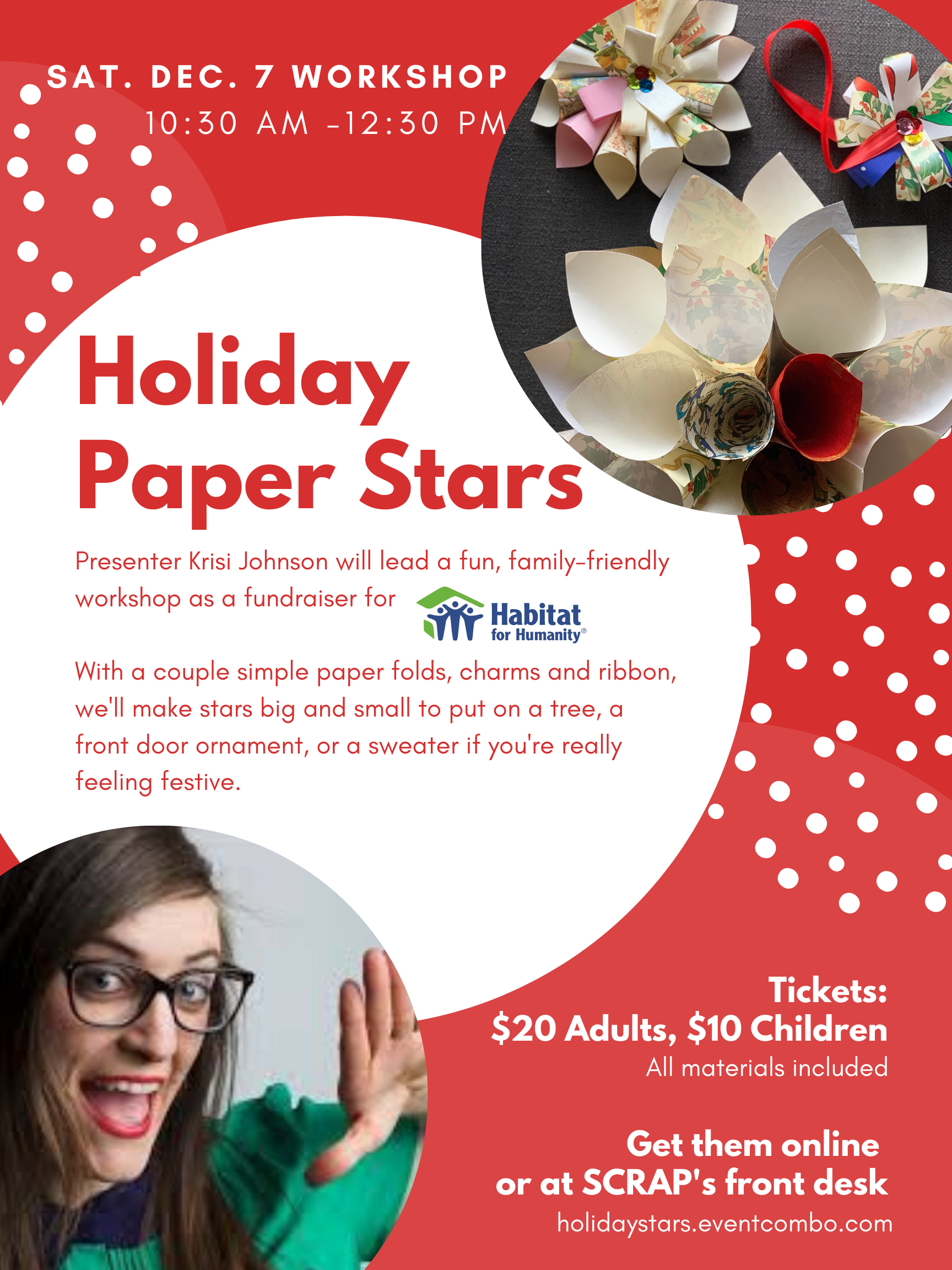 Holiday Paper Stars:  Creative Reuse Workshop & Fundraiser for Habitat for Humanity