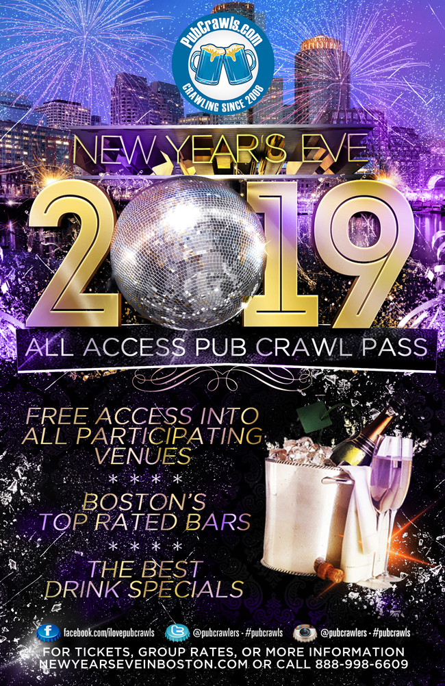 Boston New Year's Eve Pub Crawl All Access Pass (Faneuil Hall)