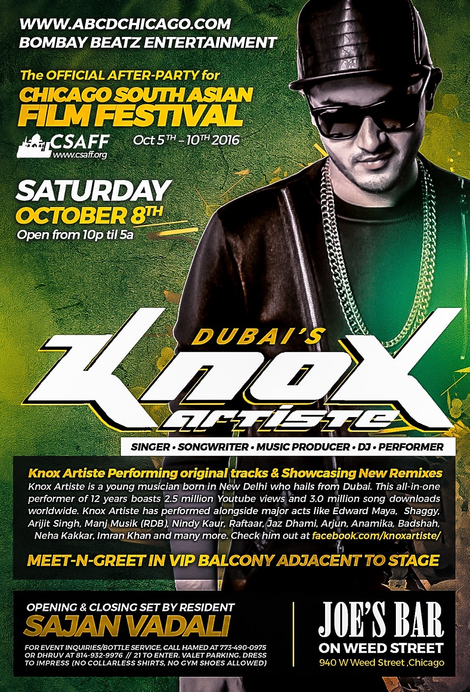 Dubai's KNOX ARTISTE Live! ~ Official After-Party for 2016 CSAFF.org