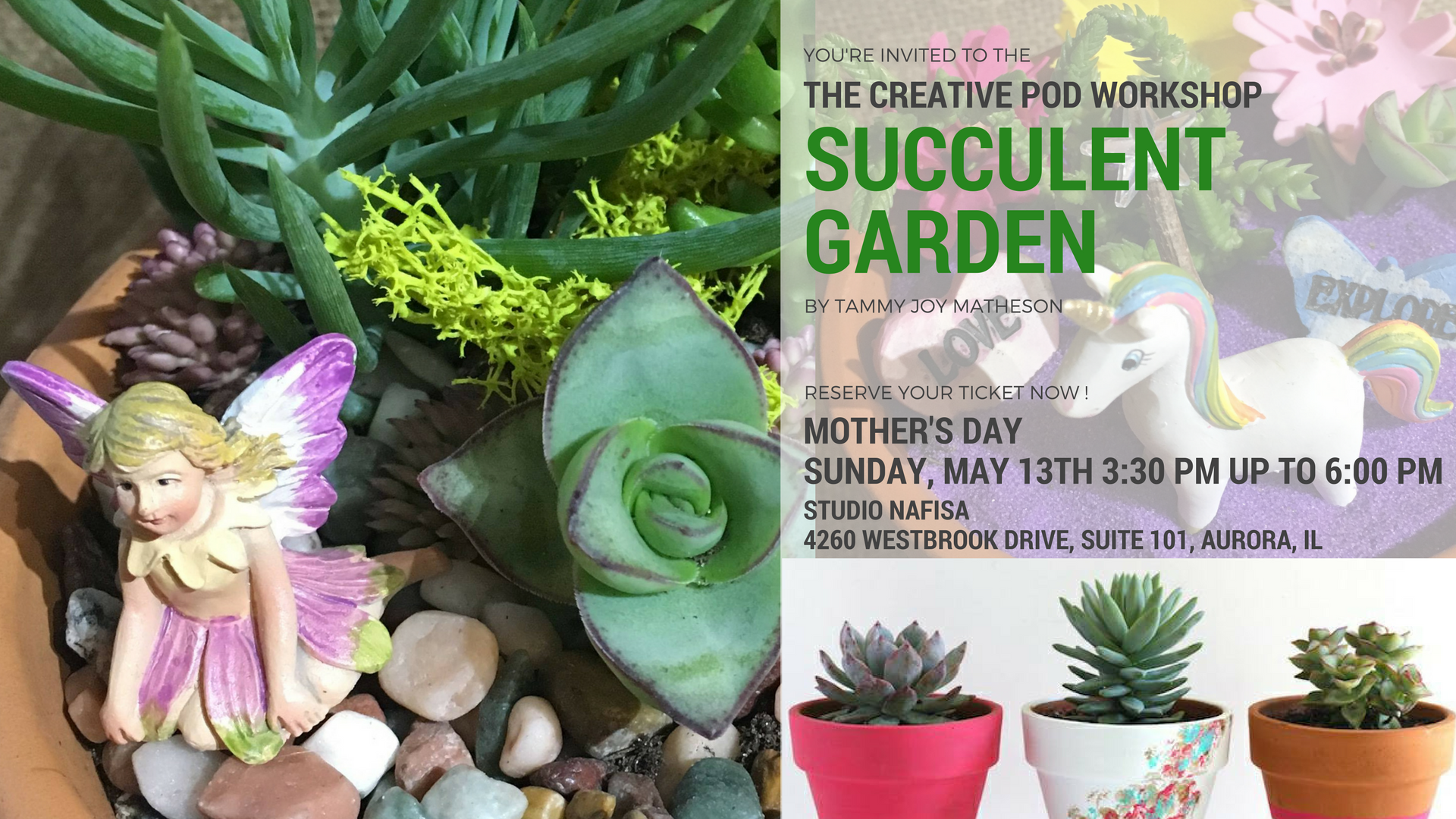 Succulent Garden Workshop - Mom and little ones make succulent gardens. Create your own potted garden with succulents and mini garden accessories.