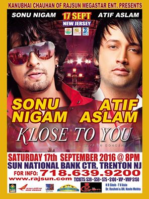 Sonu Nigam and Atif Aslam Live in Concert in New Jersey - KLOSE TO YOU TOUR