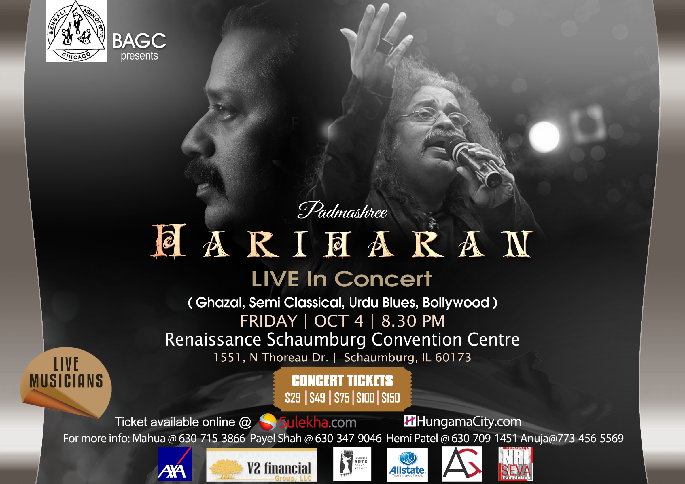 Hariharan 4th Oct Live in Concert in Chicago