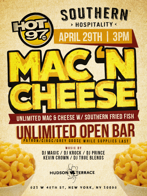 "Southern Hospitality ""Mac N Cheese"" Unlimited Open Bar"