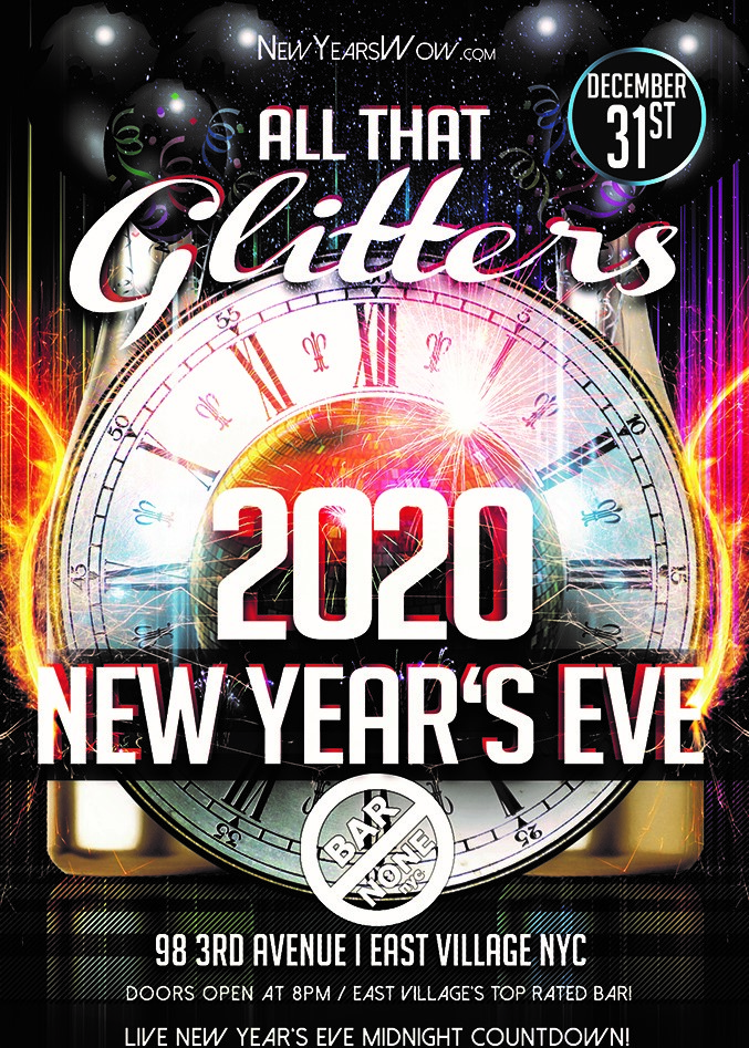 "NYC New Years Eve ""All That Glitters"" at Bar None"