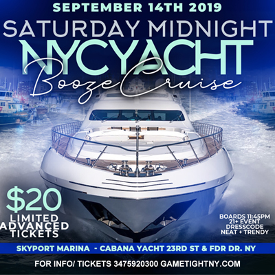Manhattan Saturday Midnight Yacht Party Booze Cruise at Skyport Marina