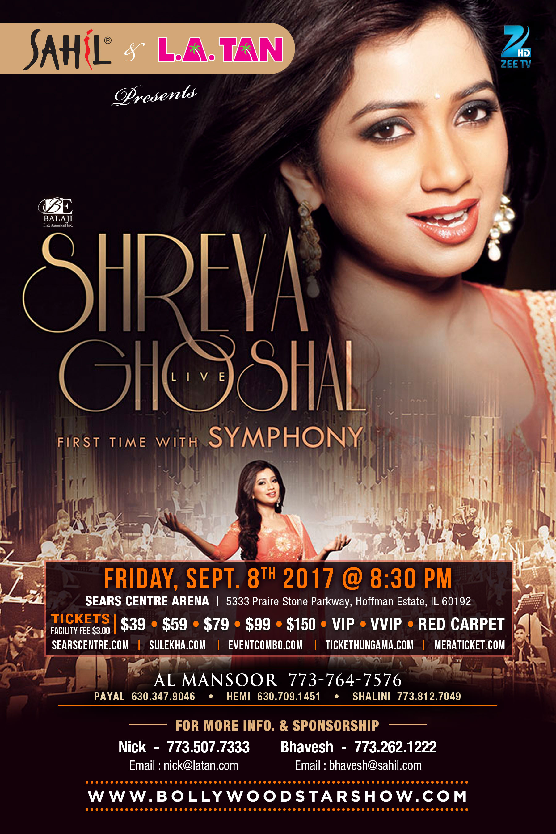 Buy Tickets for Shreya Ghoshal Live in Concert in Chicago 2017 with Symphony