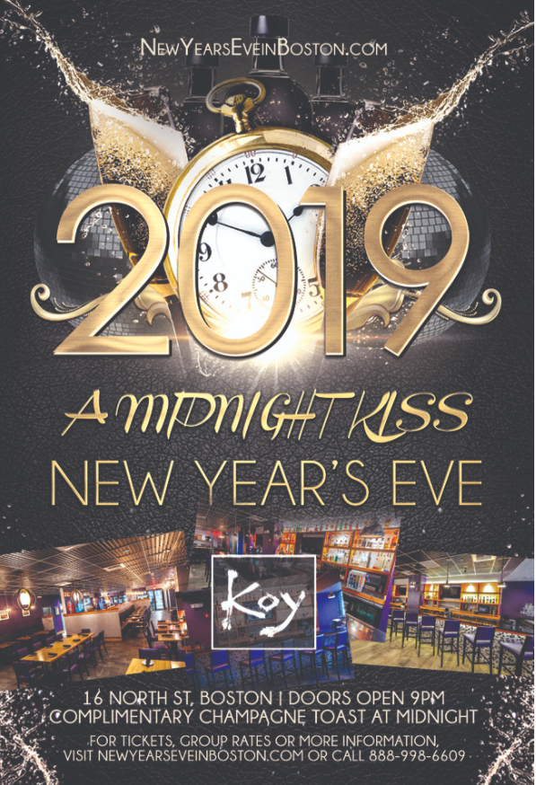 """A Midnight Kiss"" New Year's Eve at Koy Boston [Faneuil Hall]"