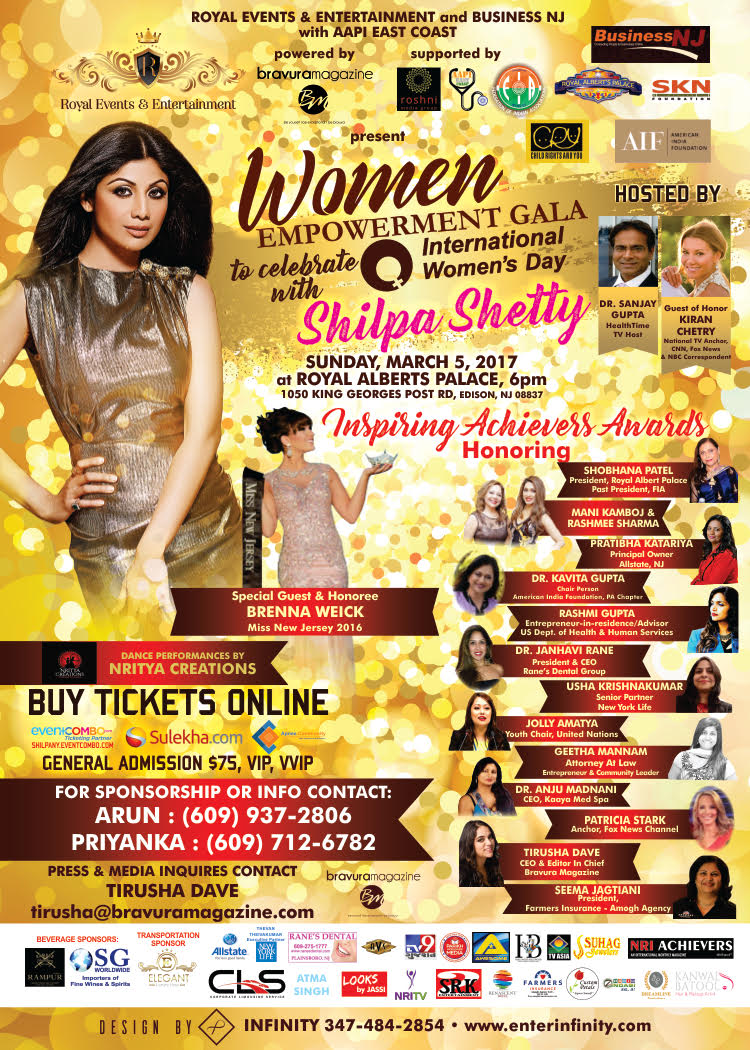Women Empowerment Gala with  Bollywood Actress SHILPA SHETTY in New Jersey