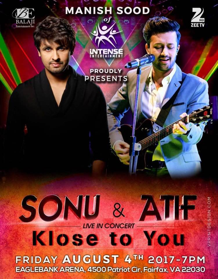 Sonu Nigam and Atif Aslam Live in concert in Virginia on August 4, 2017