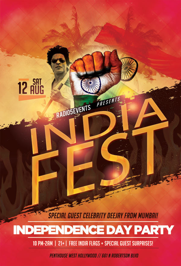 Radio5 Events presents, Indiafest 2017 - India's Independence Day Party @ Celebrity Hotspot Penthouse in West Hollywood with Mumbai's Best Deejays!