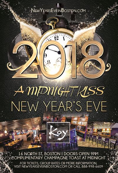 """A Midnight Kiss"" New Year's Eve 2018 at Koy Boston"