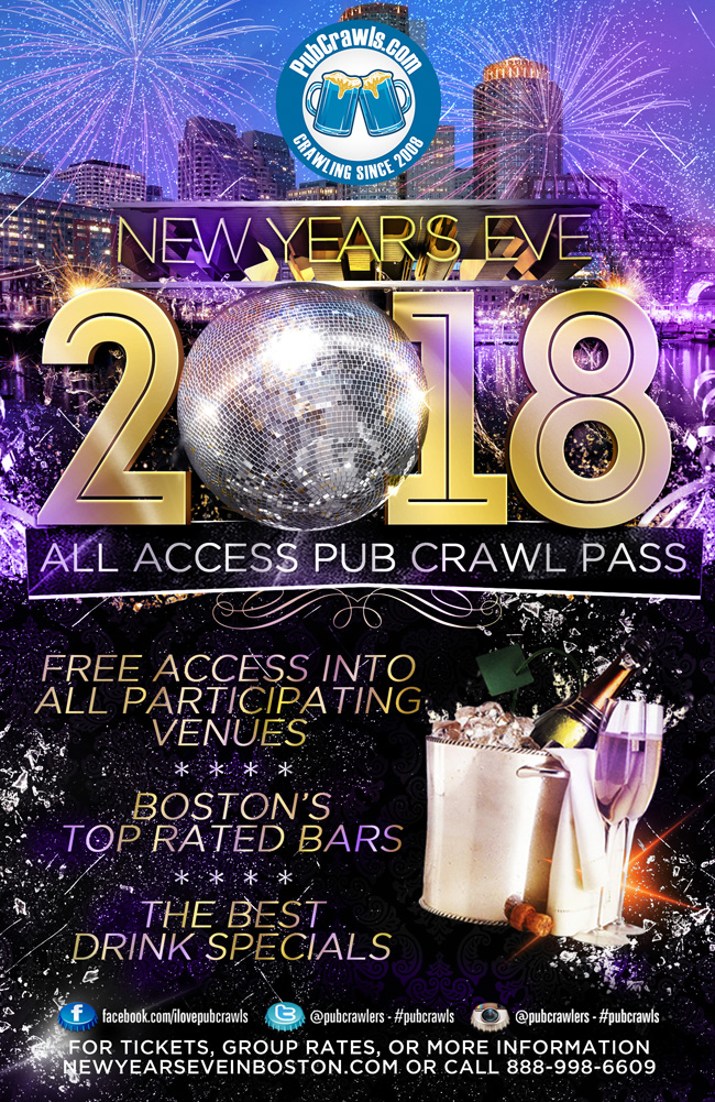 Boston New Year's Eve Pub Crawl All Access Pass