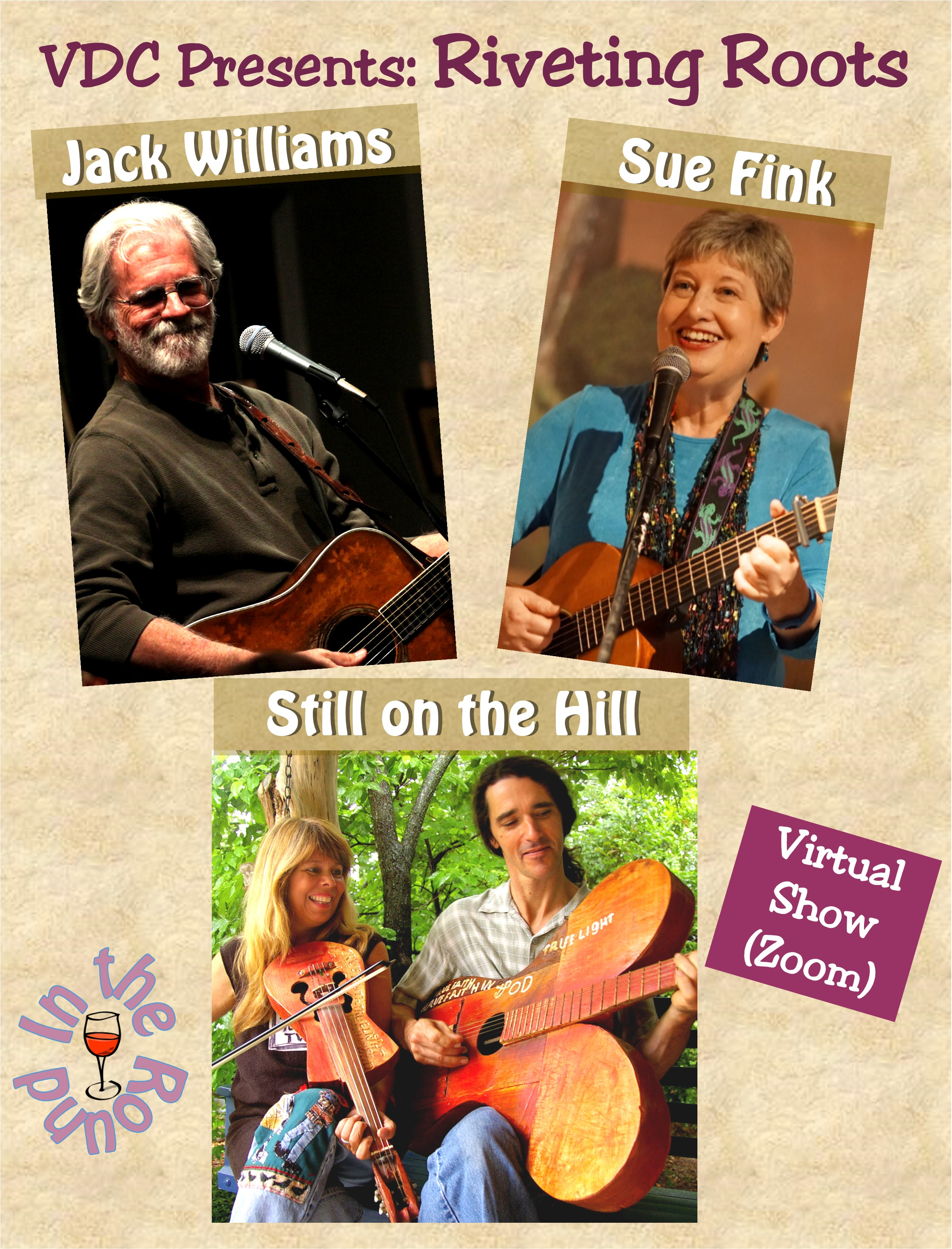 Virtual Dream Café Presents:  Riveting Roots:  Jack Williams, Still on the Hill, and Sue Fink In-the-Round