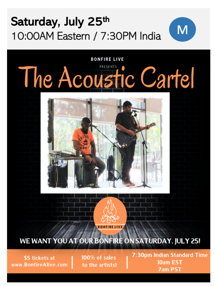 100% of proceeds go to the artists! The Acoustic Cartel with Bonfire Live
