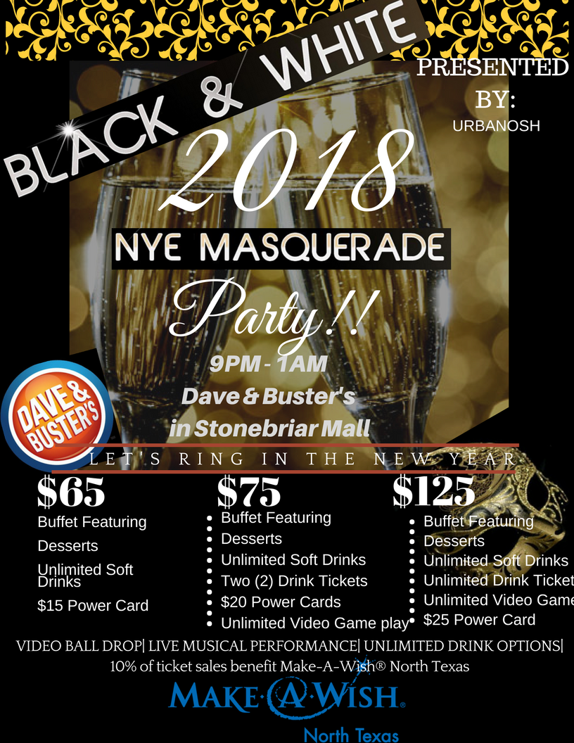 New Year's Eve Masquerade Party at Dave and Buster's in Stonebriar Mall