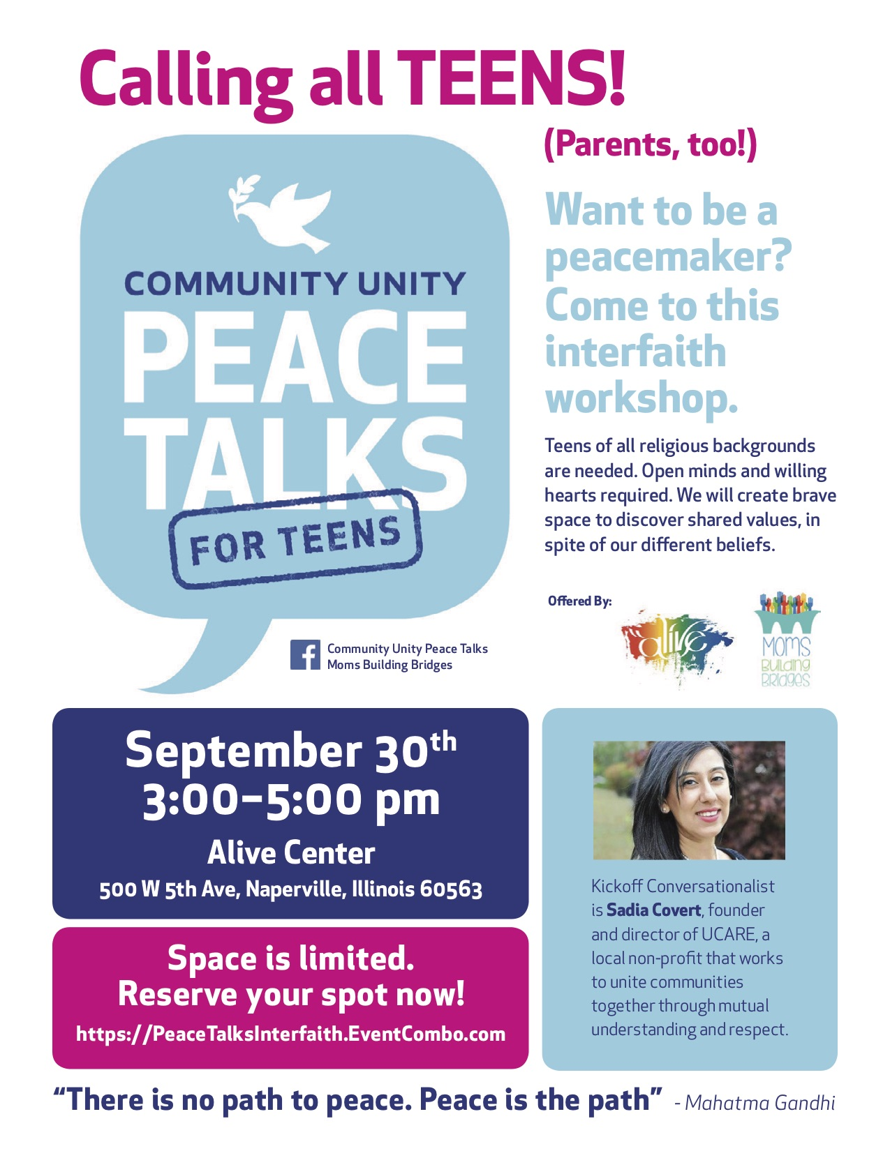 COMMUNITY UNITY PEACE TALKS for TEENS:  An Interfaith Workshop