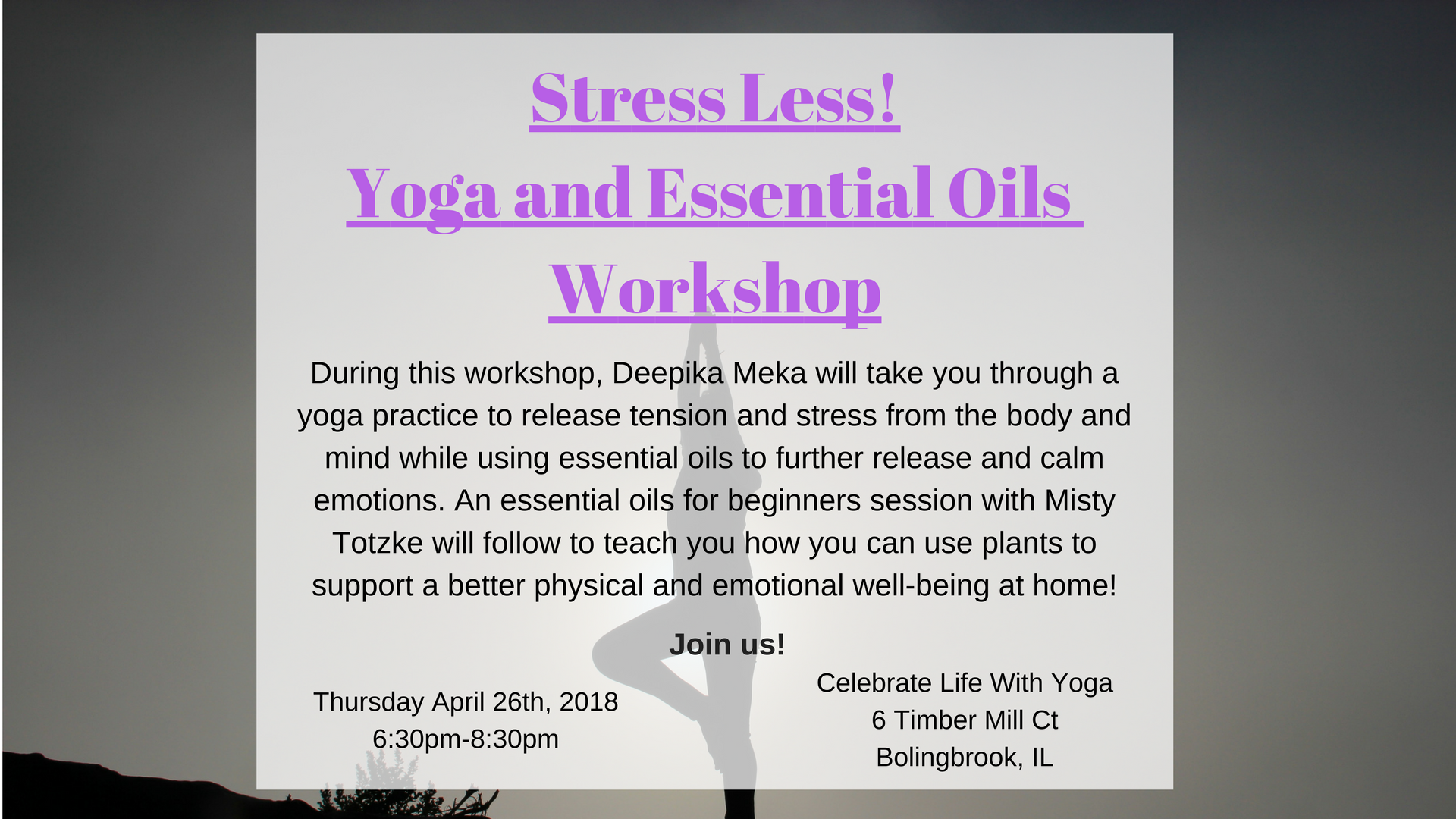 Stress Less, Yoga and Essential oils Workshop