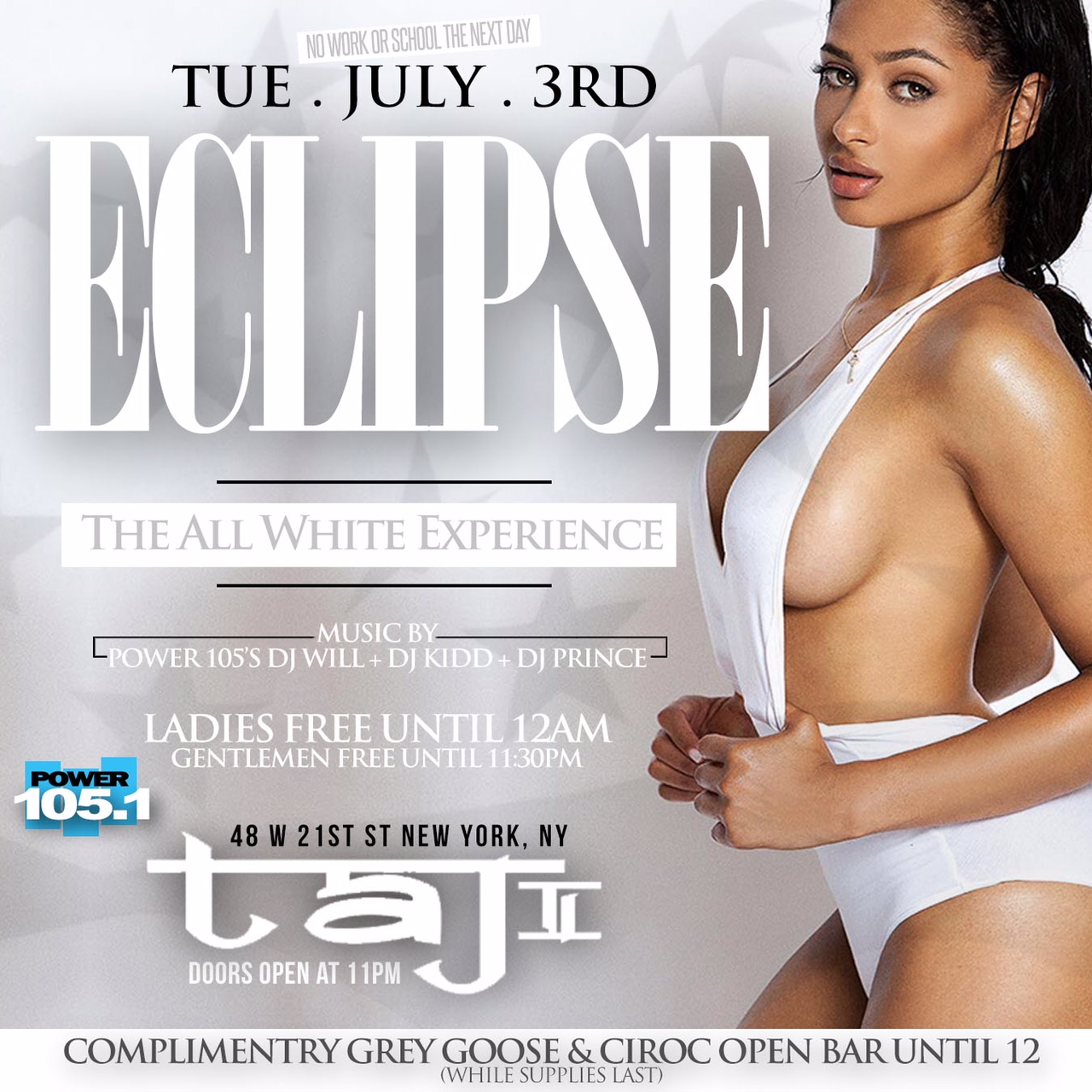 Eclipse: The Independence day all White Affair| Ciroc & Grey Goose Open Bar