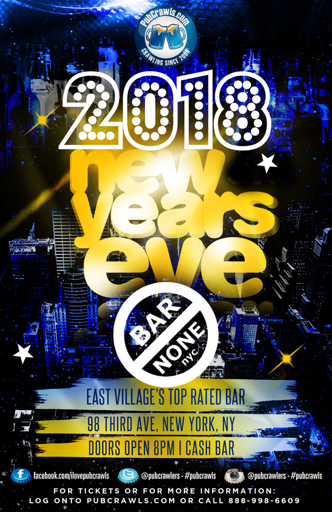 Bar None New Year's Eve 2018 in New York City