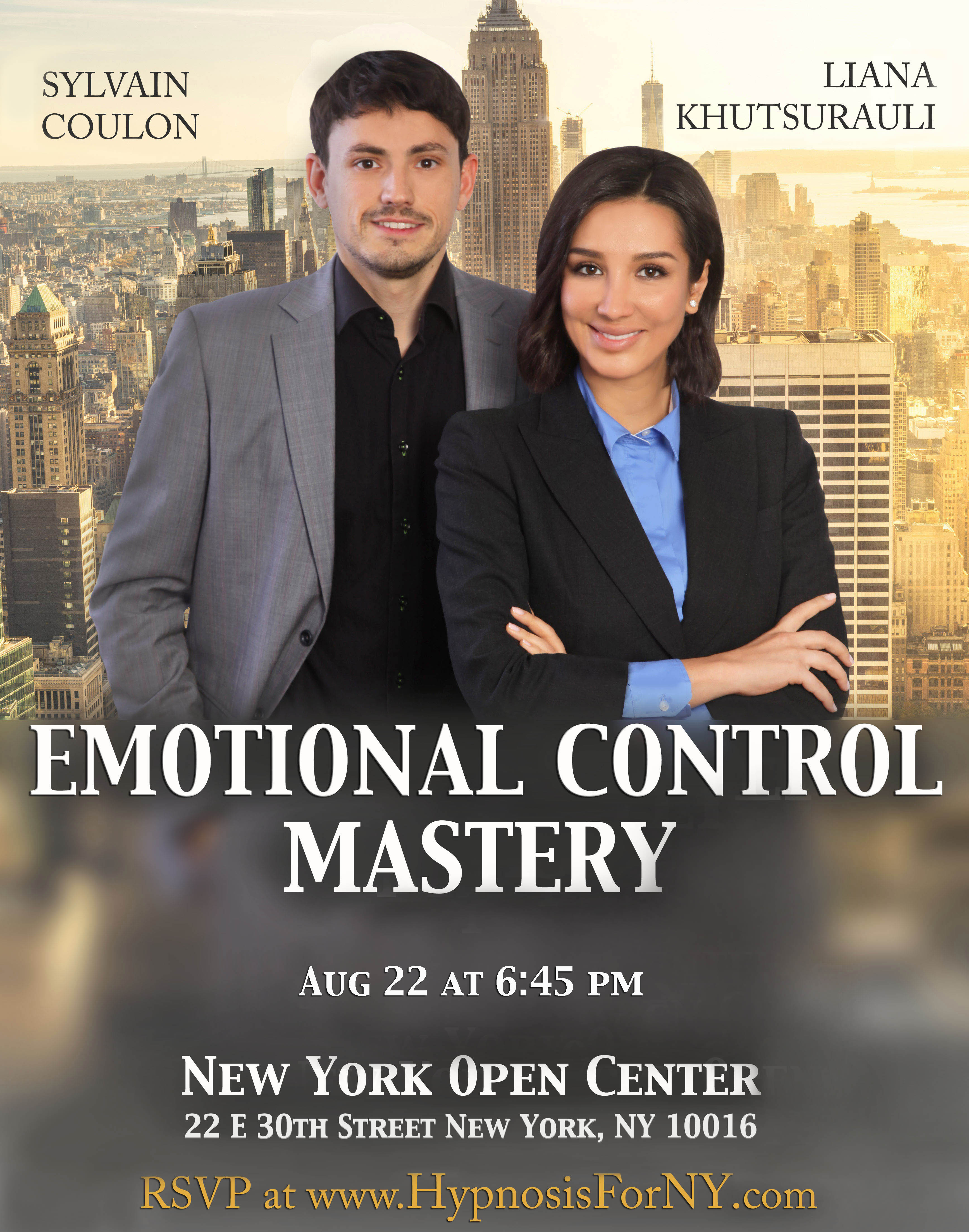 Emotional Control Mastery August 22 in New York