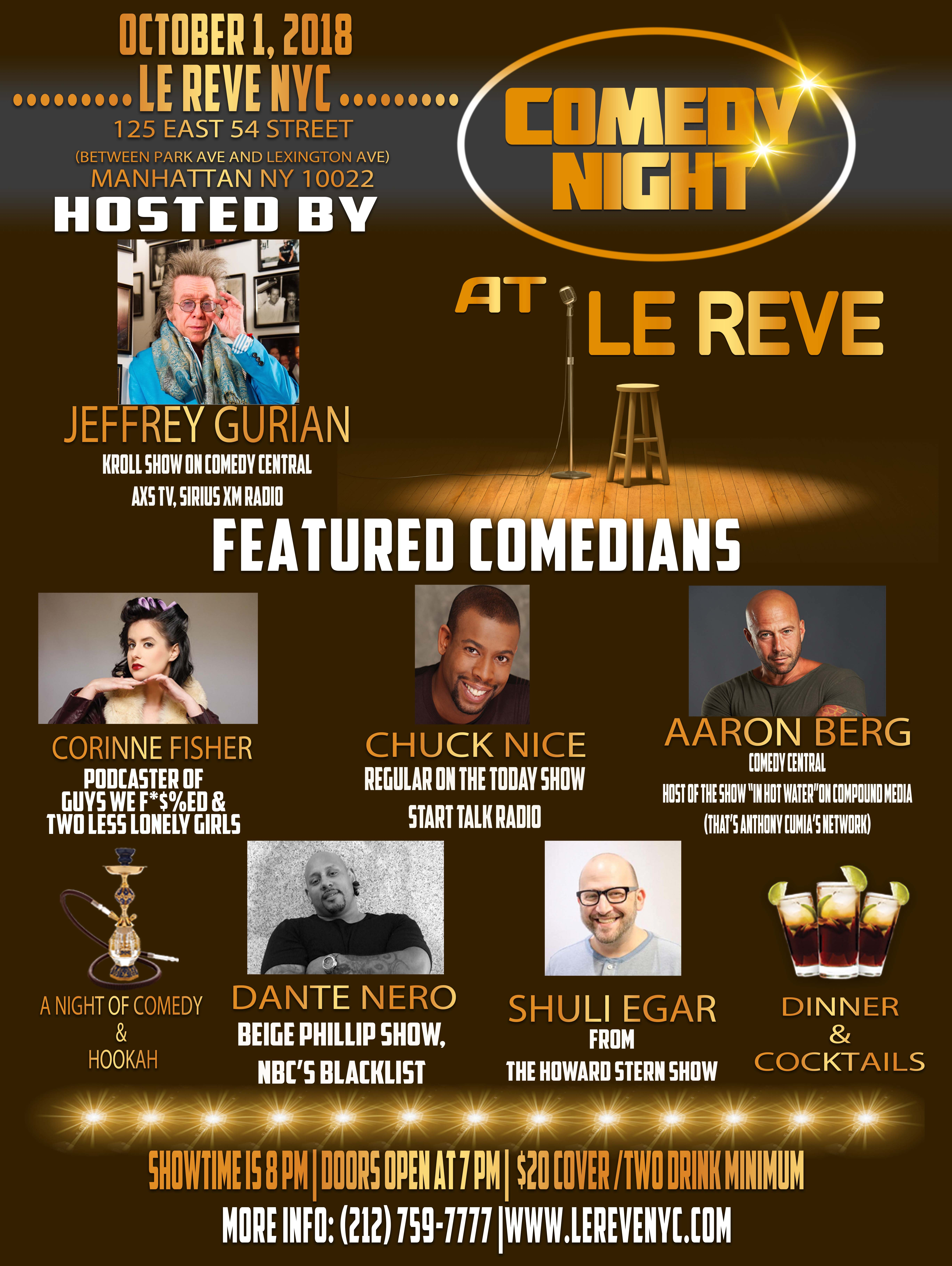 KILLER COMEDY SHOW AT BEAUTIFUL EAST SIDE NIGHTCLUB THIS COMING MONDAY OCT. 1