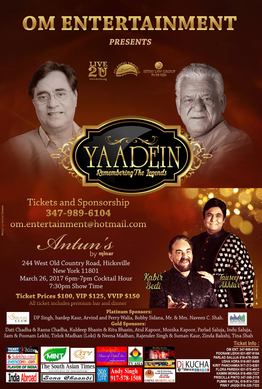 Yaadein Remembering The Legends in New York Featuring Kabir Bedi and Tauseef Akhtar