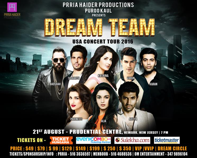 DREAM TEAM Live in Concert in NEW JERSEY Featuring Katrina Kaif, Varun, Alia, Sidharth, Karan, Aditya, Badshah and Parineeti