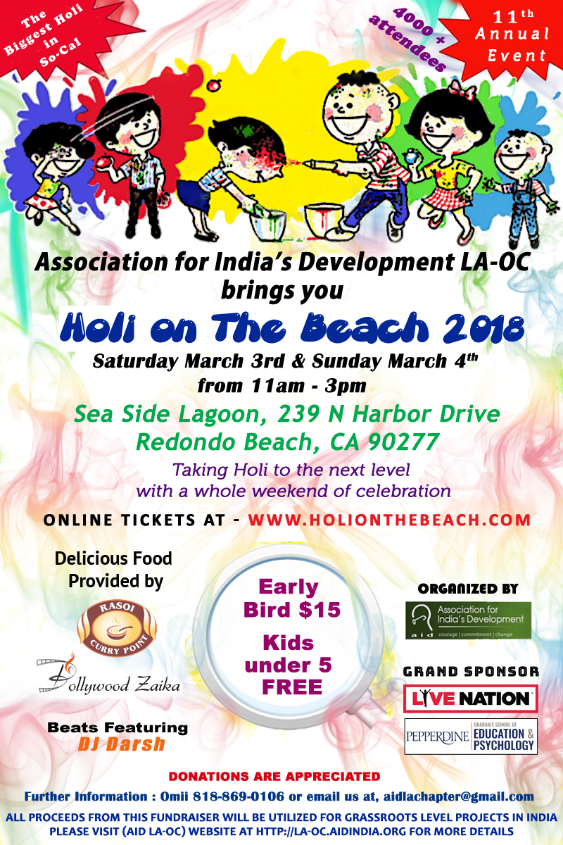 Holi on the Beach 2018 (Festival Of Colors LA-OC) on Sunday, March 4th