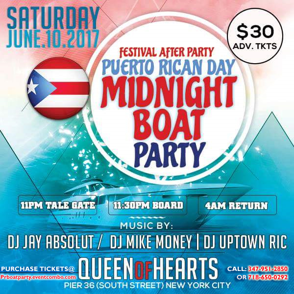 Puerto Rican Day Parade Weekend Midnight Boat Party in New York