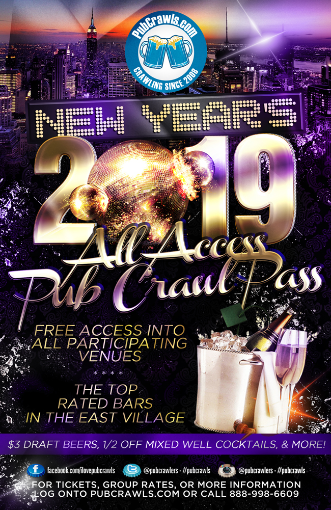 New York City All Access Pub Crawl Pass New Year's Eve