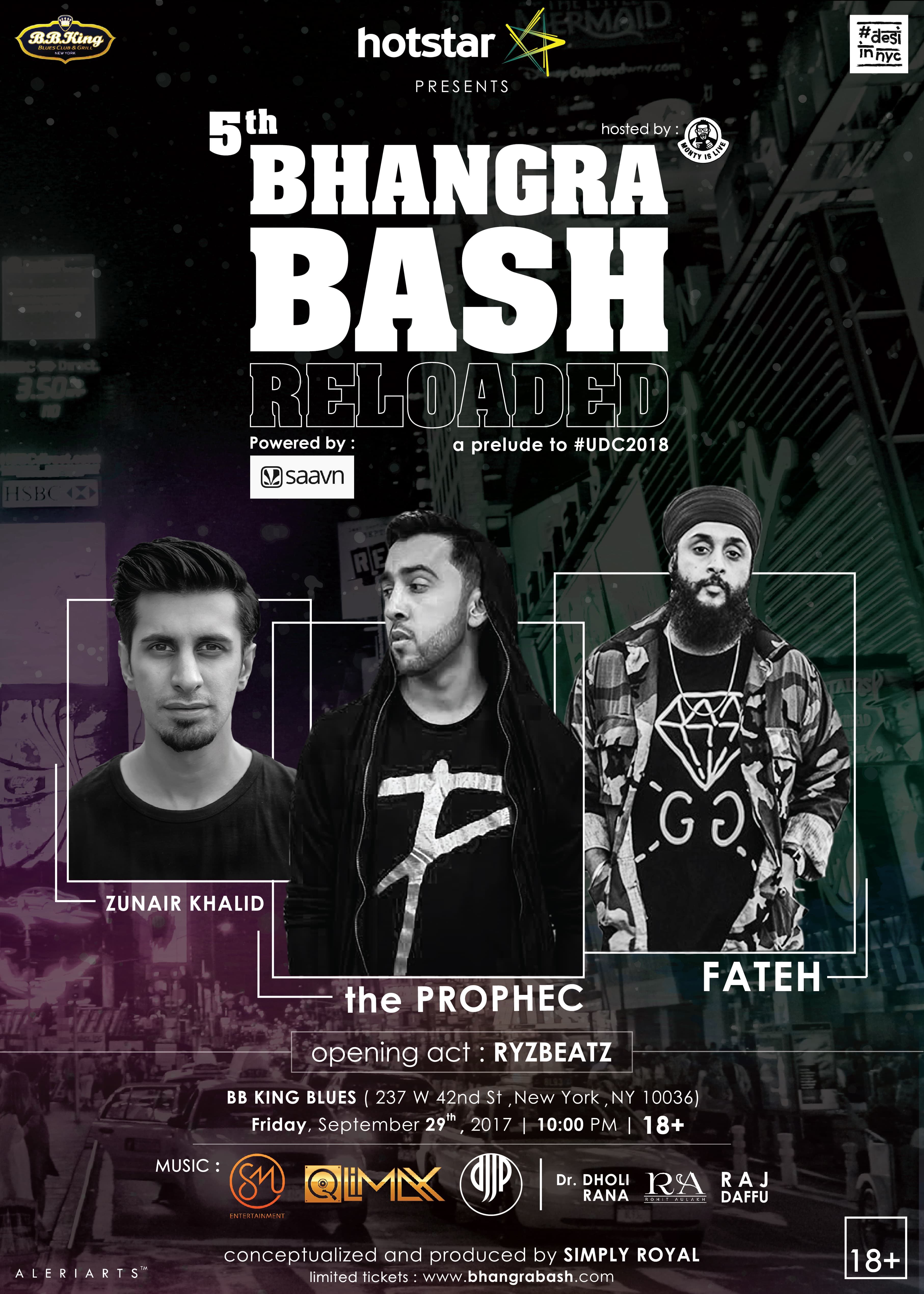 5th Annual BHANGRA BASH - ReLoaded (18+) with The PropheC x Fateh x Zunair