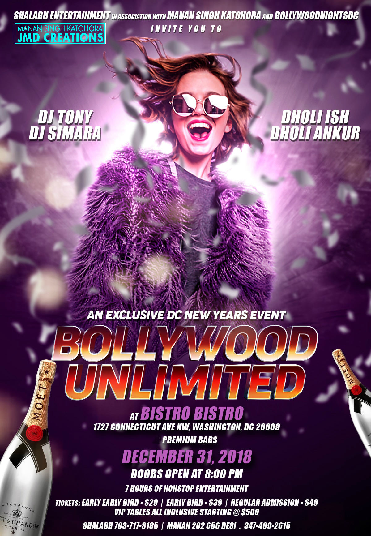 BOLLYWOOD UNLIMITED - Next Level NYE Entertainment at BISTRO BISTRO with 4 Celebrity Artists