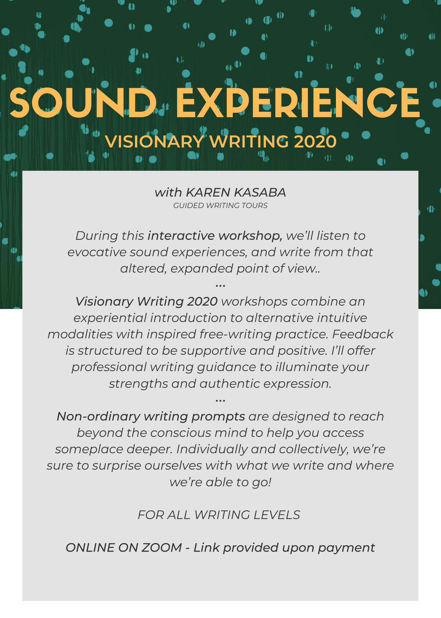 Sound Experience - VISIONARY WRITING 2020