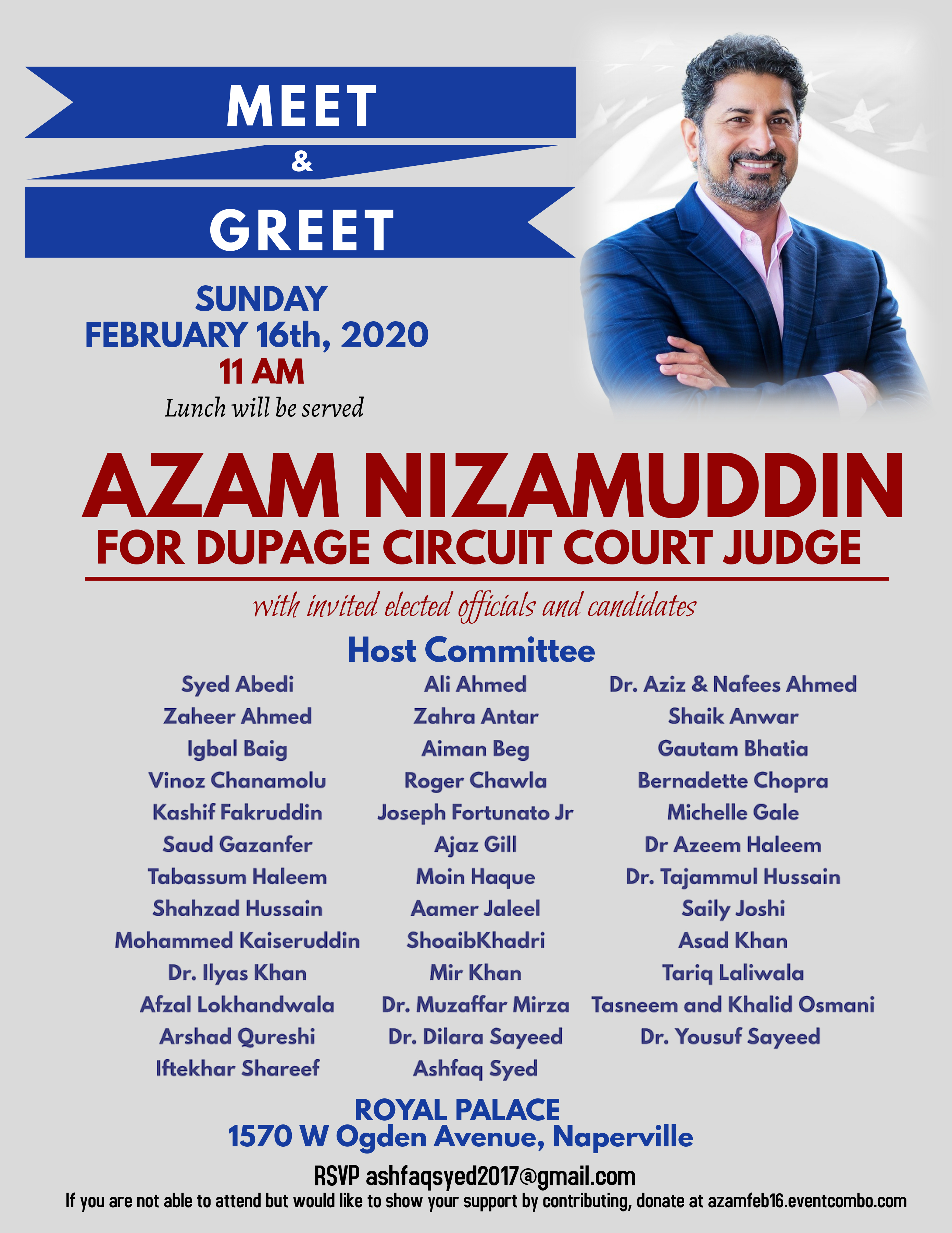 Community Meet and Greet with Azam Nizamuddin for DuPage Circuit Court Judge