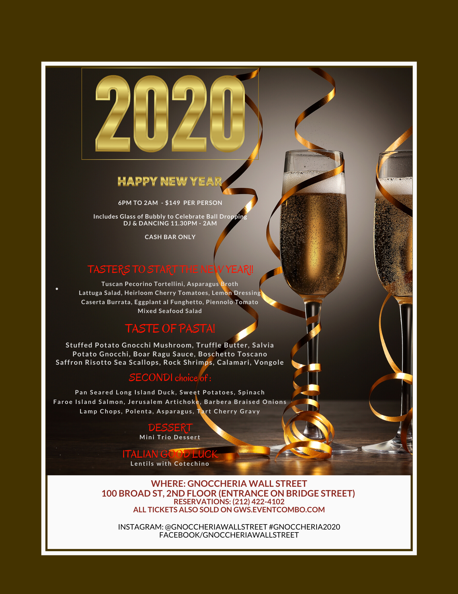 Gnoccheria Wall Street New Year's Eve 2020 Dinner and Party