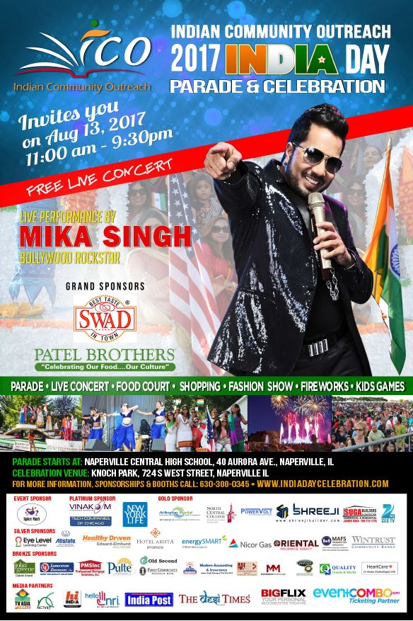 2017 India Day & Celebration in Chicago Featuring Mika Singh