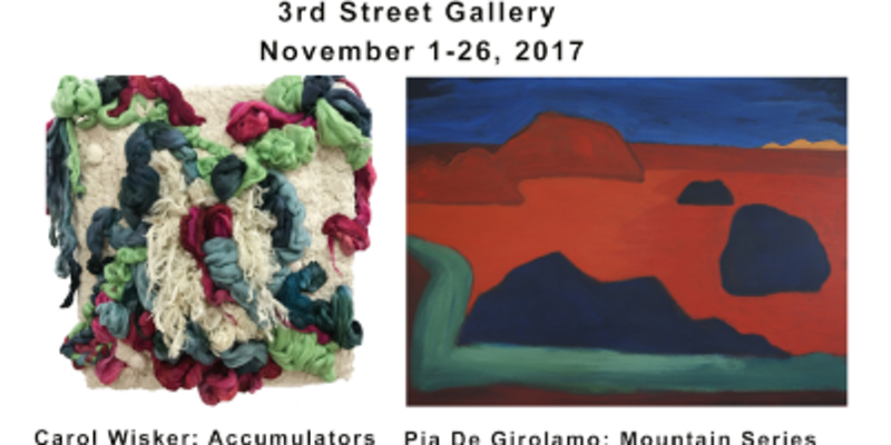 Pia De Girolamo: Mountain Series and Carol Wisker: Accumulators Two Curated Exhibitions at 3rd Street Gallery