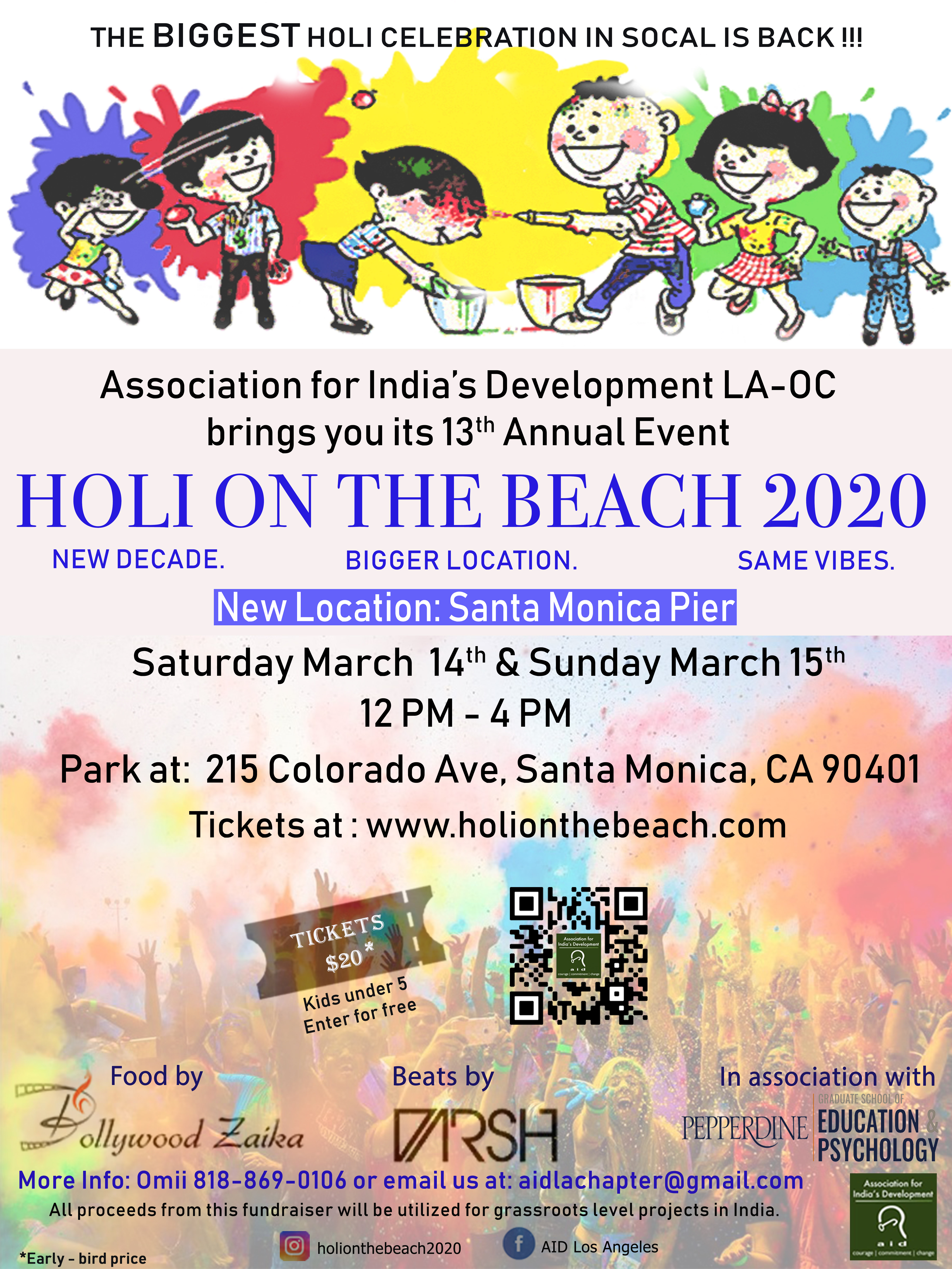 Holi on the Beach 2020 (Festival Of Colors LA-OC)  Sunday, March 15th