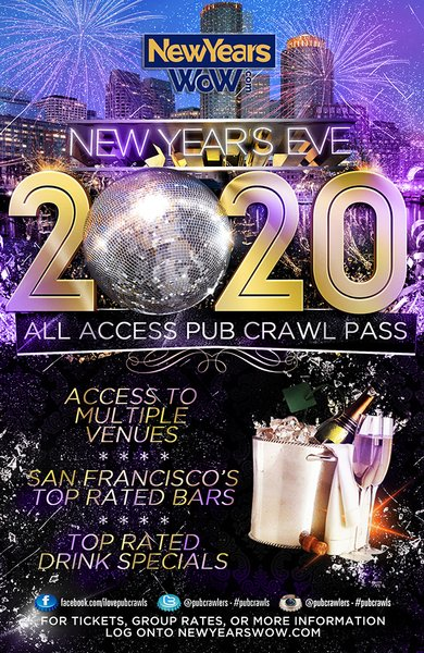 San Francisco New Year's Eve All Access Pub Crawl Pass