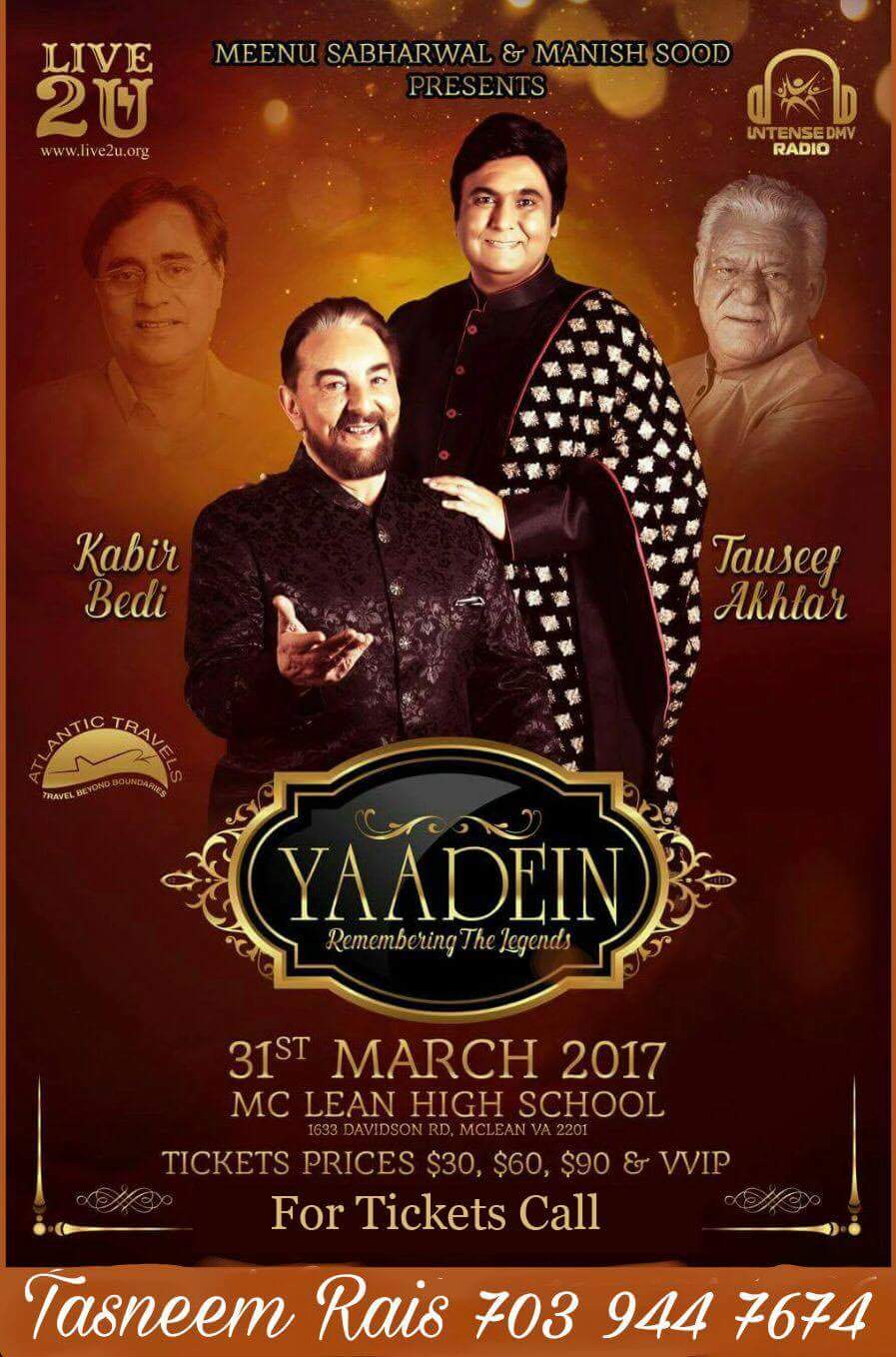 Yaadein 2017: Grand Tribute To The Ghazal King Jagjit Singh By Tauseef Akhtar with Kabir Bedi in VIRGINIA on Friday March 31st