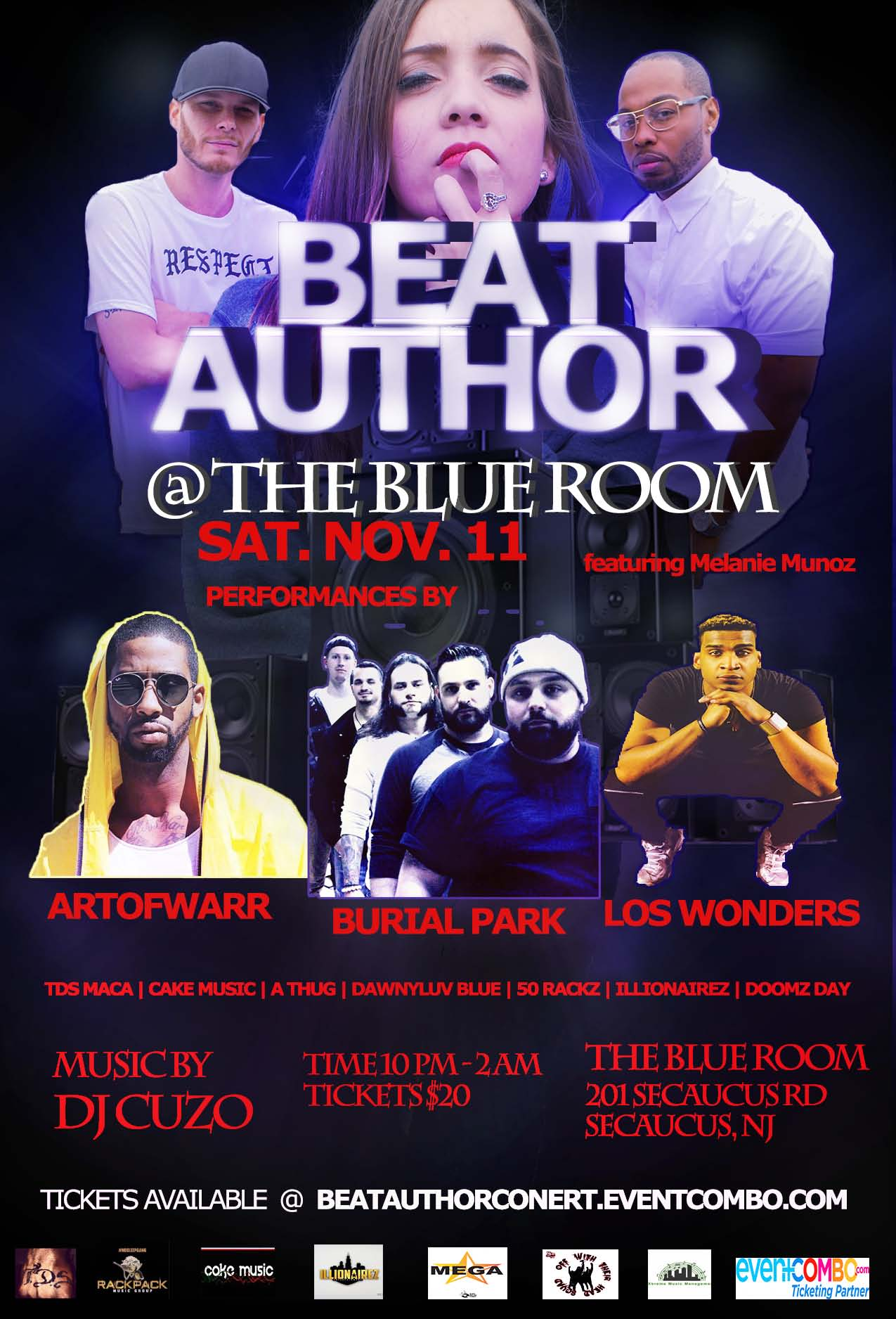 Beat Author Concert Featuring Melanie Munoz, Art of Warr, Burial Park, Los Wonders, Music by DJ Cuzo & DJ Cazzarelli