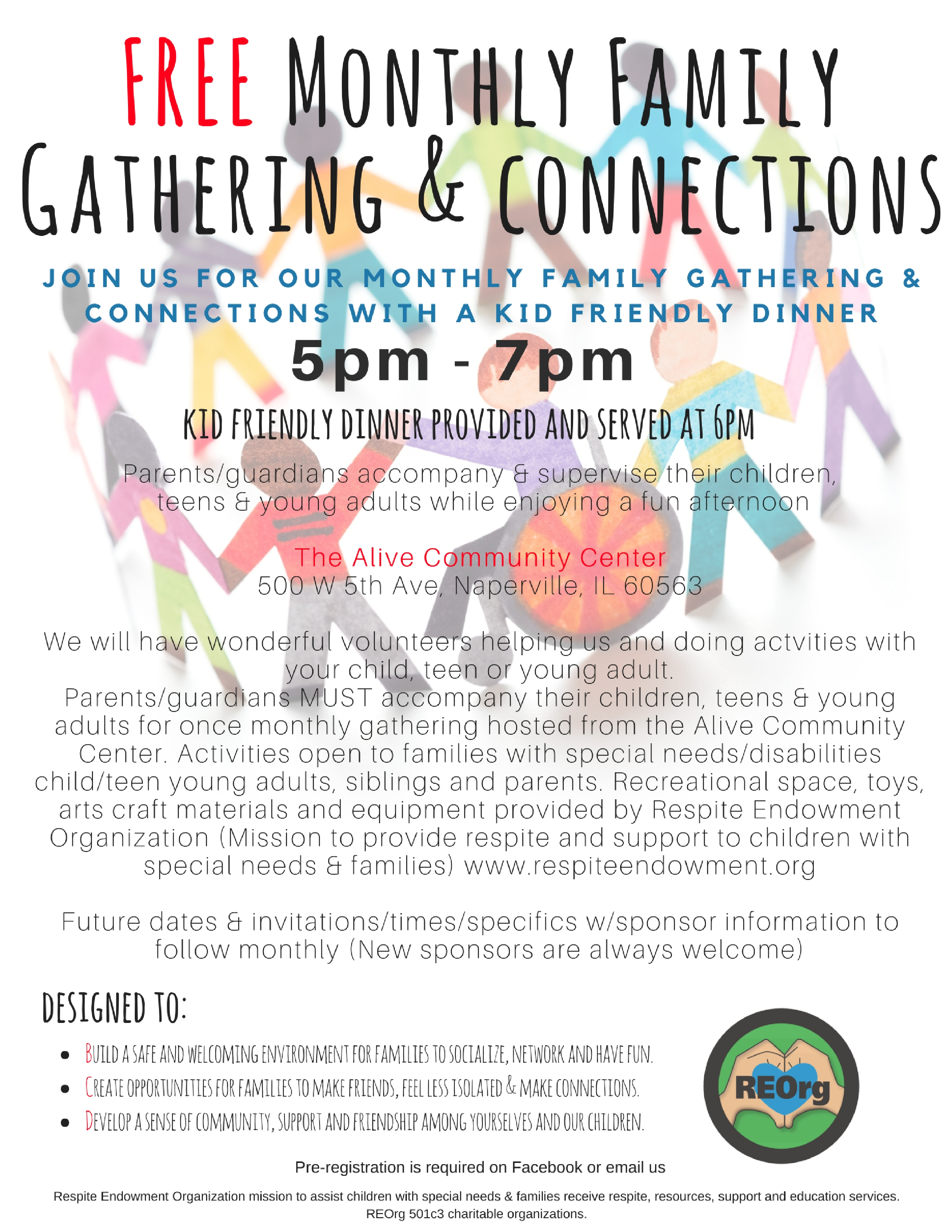 Family Gathering & Connections with Dinner for children, teen, young adult w/special needs and family