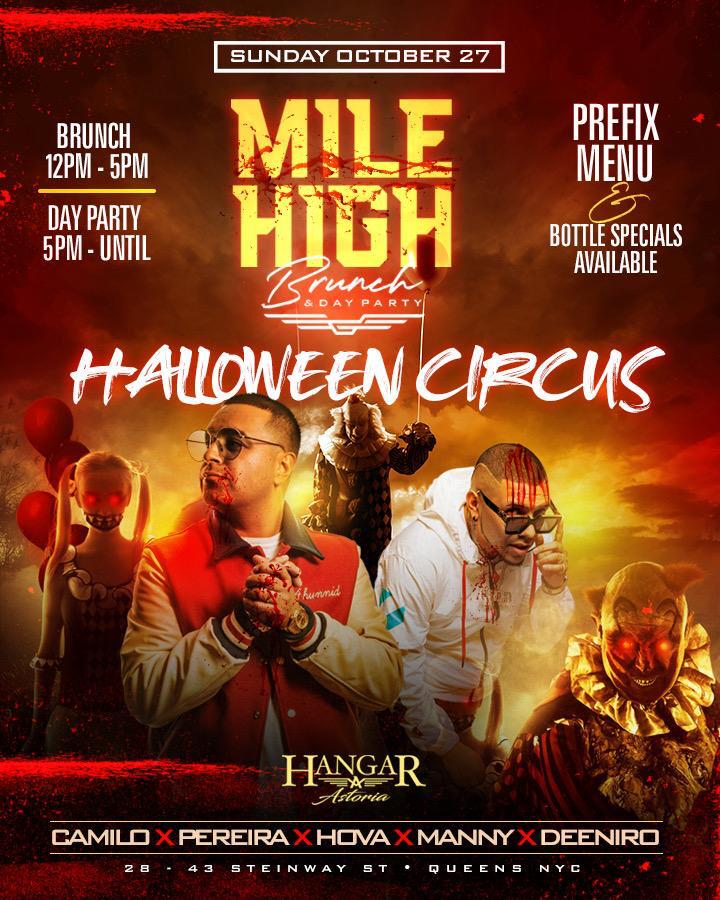 Sunday October 27th The Mile High Brunch Halloween Party At Hangar Astoria